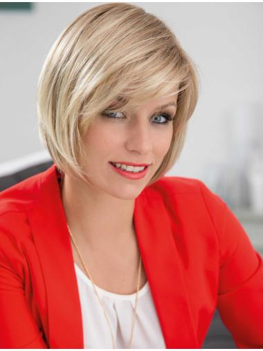Popular Blonde Straight Chin Length Synthetic Wigs
