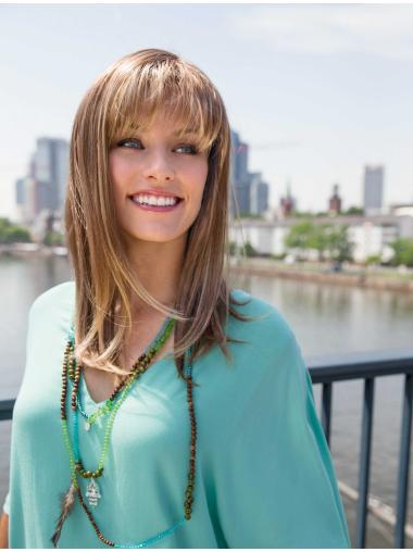 Trendy Brown Straight Long Synthetic Wigs