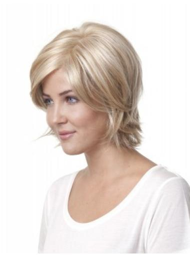 Sleek Blonde Straight Chin Length Monofilament Wigs