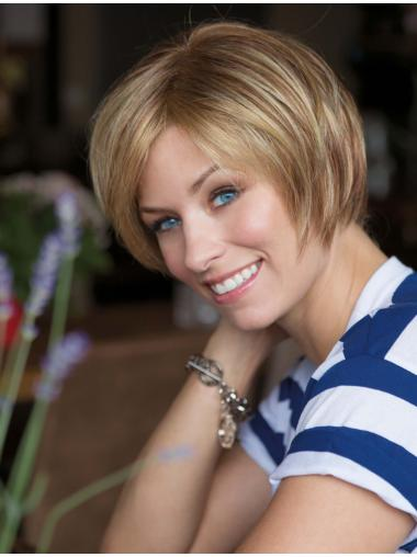 Polite Blonde Lace Front Chin Length Bob Wigs