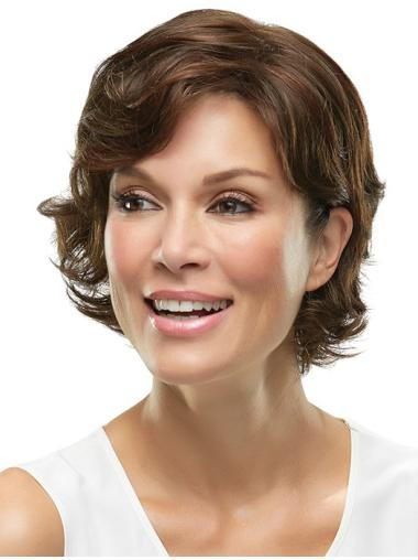 Monofilament Modern Layered Wavy Short Wigs