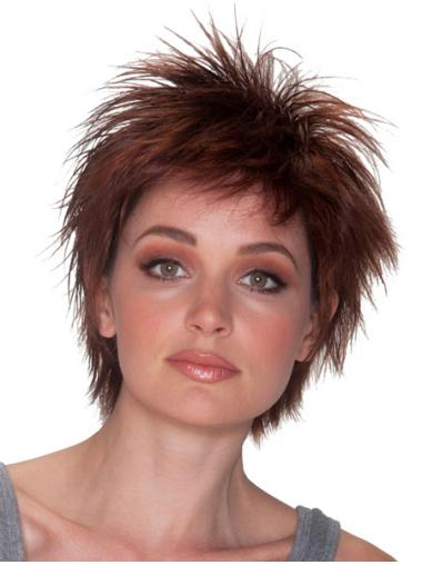 Exquisite Auburn Layered Straight Short Wigs