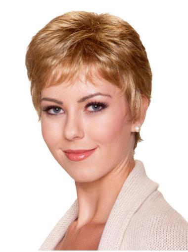 Blonde Monofilament Synthetic Gentle Short Wigs
