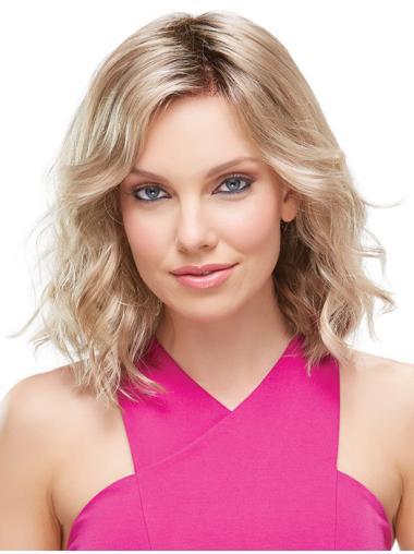 Blonde Wavy Synthetic Durable Medium Wigs