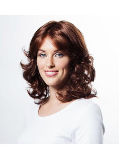 Gentle Auburn Wavy Shoulder Length Wigs