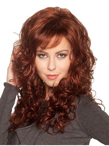 Designed Auburn Curly Synthetic Long Wigs