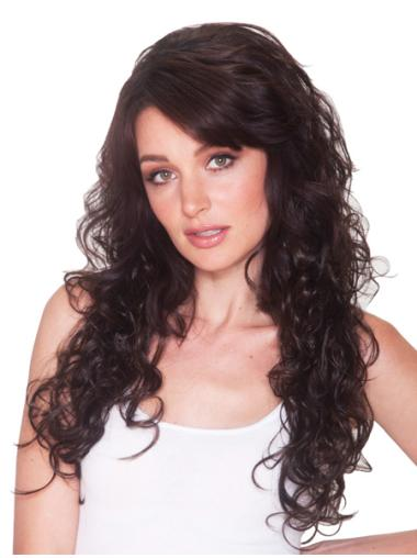 New Brown Curly Long Human Hair Wigs & Half Wigs