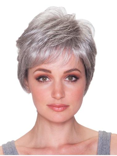 Stylish Straight Short Synthetic Grey Wigs