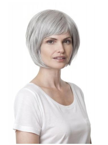 Fashionable Straight Chin Length Synthetic Grey Wigs