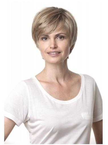 Impressive Blonde Lace Front Short Human Hair Wigs