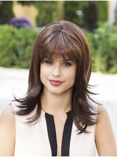 """Brown With Bangs Synthetic 14"""" Straight Medium Wig For Women"""