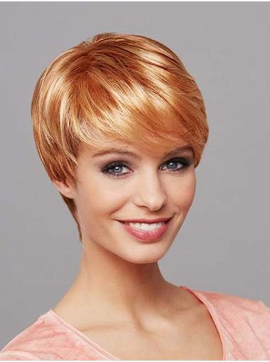 "Short Blonde 8"" Straight Synthetic Mono Wig"
