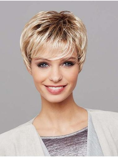 "8"" Platinum Blonde Short Layered Straight Synthetic Wigs"