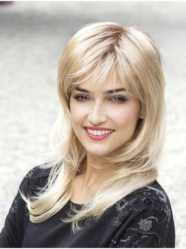 """Straight 14"""" Blonde Capless With Bangs Long Wigs For Women"""