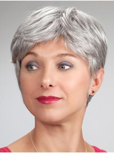 Short Monofilament Synthetic Straight Elderly Lady Wig