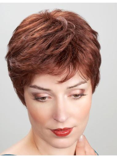 "Short Copper 8"" Straight Synthetic Monofilament Heat Resistant Wigs"
