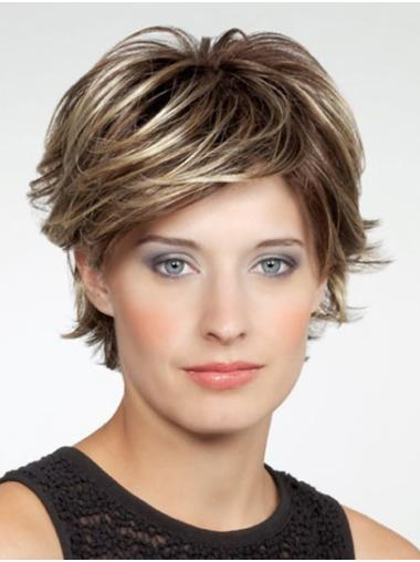 """10"""" Brown Chin Length Layered Wavy Very Cheap Synthetic Wigs"""