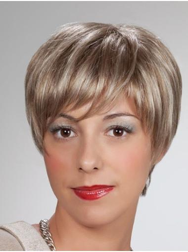 "Short Blonde 8"" Straight Synthetic Mono Wigs"