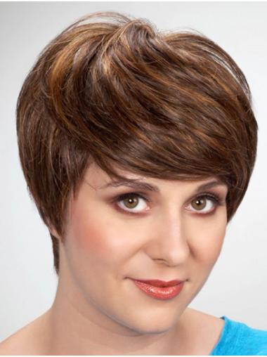 "8"" Brown Short With Bangs Straight Synthetic Wig"
