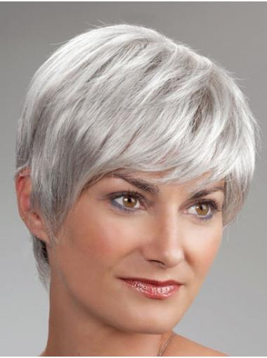 Short Monofilament Synthetic Straight Best Wigs For Elderly Lady