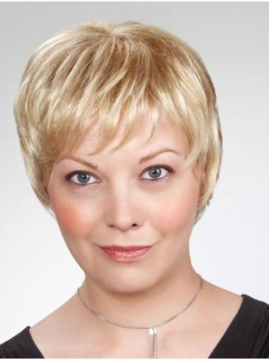 """8"""" Blonde Short Layered Straight Cheap Synthetic Wigs"""