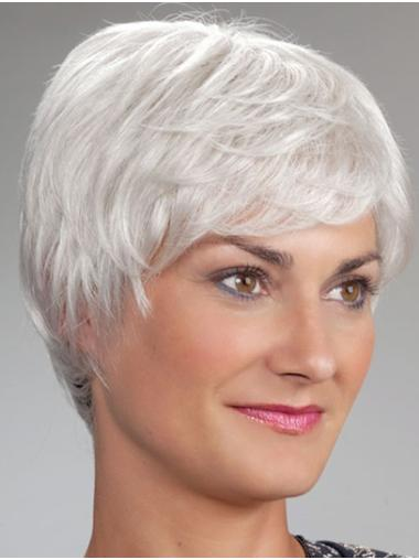 Short Monofilament Synthetic Straight Wigs For Elderly Lady