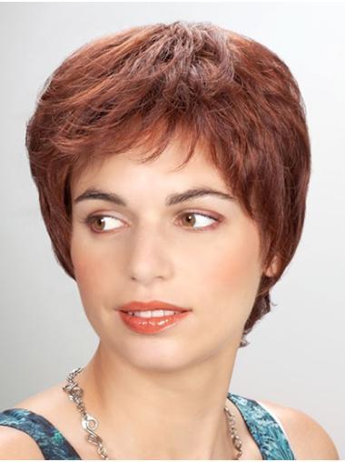 "Short Auburn 8"" Straight Synthetic Mono Wigs"