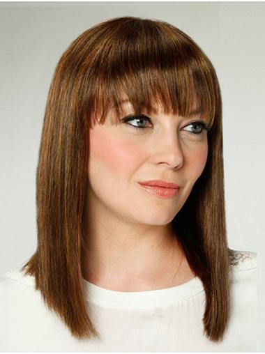 """14"""" Brown Shoulder Length With Bangs Straight Best Synthetic Wigs"""