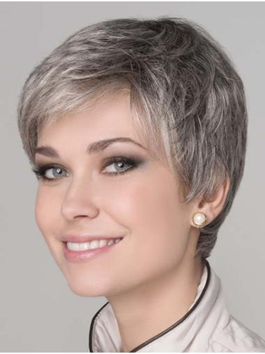 "Short Grey 8"" Straight Synthetic Monotop Wigs"