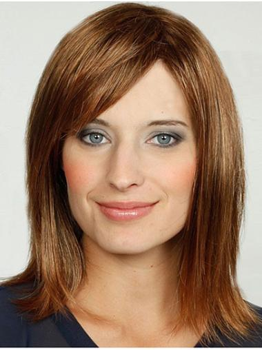 """Blonde With Bangs Synthetic 14"""" Straight Medium Length Wigs For Women"""