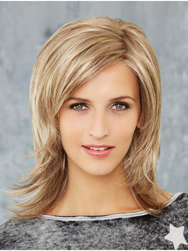 "Straight 14"" Blonde Shoulder Length Synthetic Layered Newest Mono Wigs"