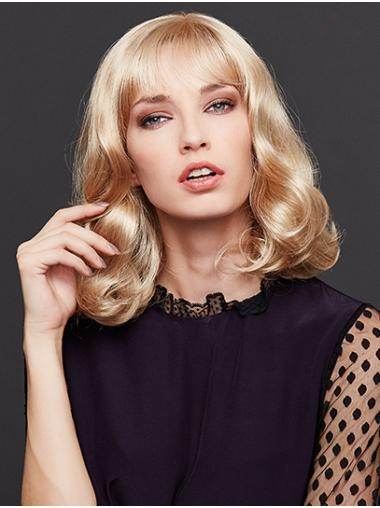"""14"""" Blonde Shoulder Length With Bangs Wavy Synthetic Wigs Cheap"""
