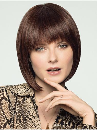 Chin Length 100% Hand-tied Remy Human Hair Straight Bob Style Wig