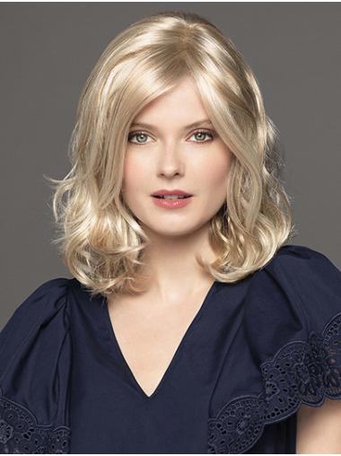 """Curly 14"""" Platinum Blonde Shoulder Length Synthetic Without Bangs The Best Monofilament Wigs"""