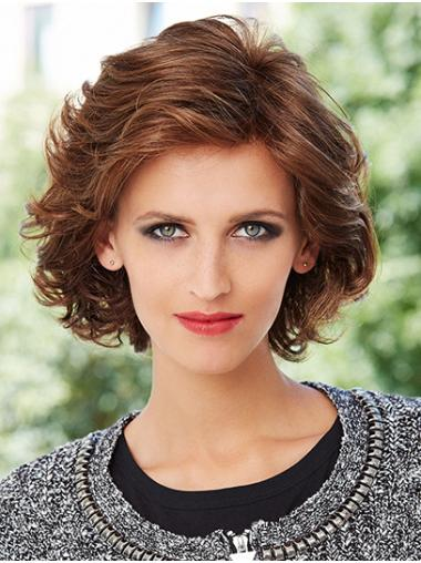 Chin Length Monofilament Synthetic Curly Classic Wigs