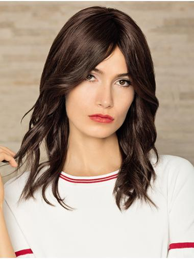 """Brown Without Bangs Remy Human Hair 14"""" Wavy Womans Wigs Medium"""