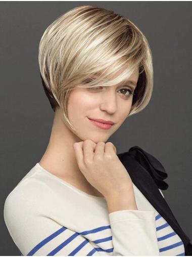 """Short 8"""" Capless Platinum Blonde Straight Ladies Bob Wigs"""