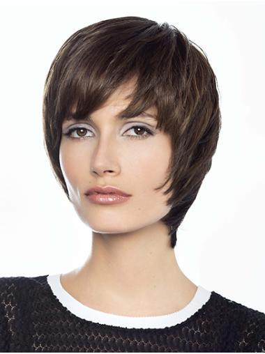 """8"""" Straight Short Layered Human Hair Wig"""