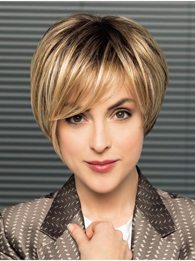"""8"""" Ombre/2 Tone Short With Bangs Straight Synthetic Wigs"""