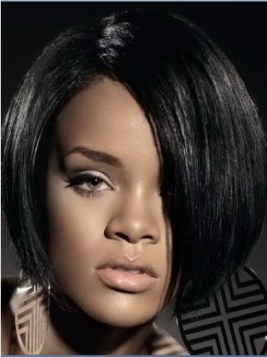 Rihanna Polished and Trendy Short Layered Lace Human Hair Bob Wig