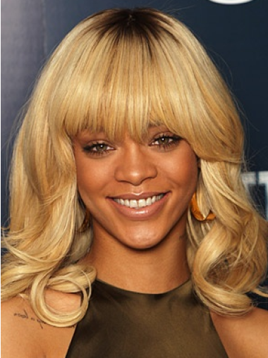 Rihanna Shiny Mid-length Twisty Wave Glueless Lace Human Hair Wig with Bangs 14 inches