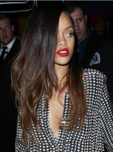 Rihanna Super Long Free Layered Full Waves Lace Human Hair Wig 24 Inches