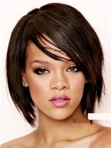 Rihanna Transformational Short Angled Lace Human Hair Bob Wig with Bangs