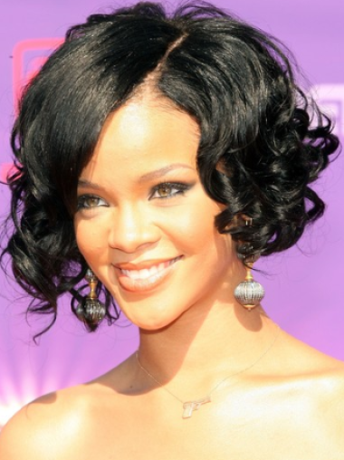 Rihanna Glowing and Flattering Short Twisty Curly Lace Human Hair Wig