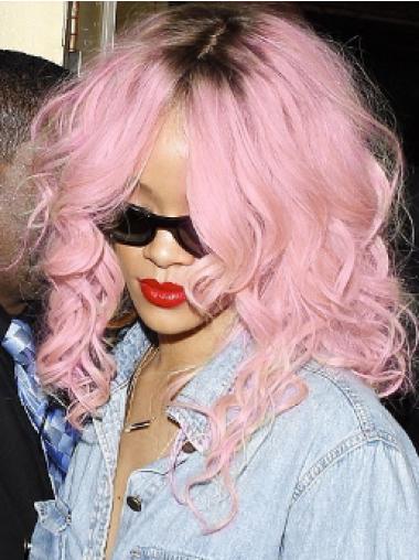 Rihanna Ultra-feminine Long Tousled and Wavy Lace Human Hair Wig 16 Inches