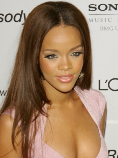 Rihanna Beautiful and Special Long Straight Lace Human Hair Wig 18 Inches