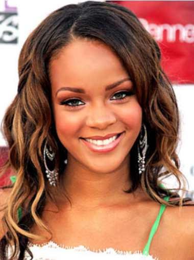 Rihanna Sweet and Elegant Long Layered Beach-wave Style Lace Front Human Hair Wig 16 Inches