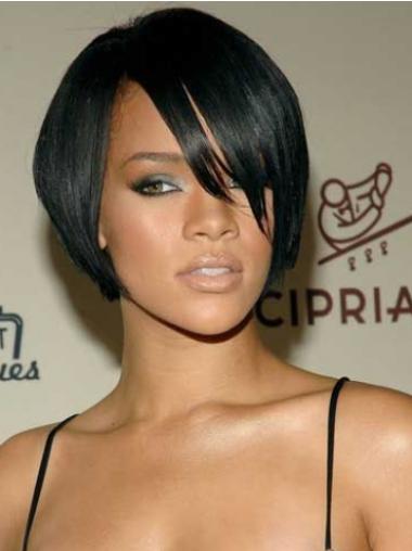 Rihanna Sleek Short Lace Front Human Hair Wig with Bangs