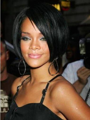 Rihanna Half-moon-shape Short Cool Lace Front Human Hair Bob Wig with Bangs