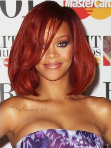 Rihanna Relaxed and Sweet Mid-length Body Wavy Lace Front Human Hair Wig 12 Inches with Bangs